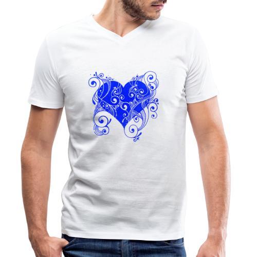 Herz in blau - Männer Bio-T-Shirt mit V-Ausschnitt von Stanley & Stella