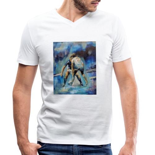 Football. Oggetti con disegno. Regalo calcio. - T-shirt ecologica da uomo con scollo a V di Stanley & Stella