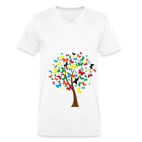 butterflies tree2 png - Männer Bio-T-Shirt mit V-Ausschnitt von Stanley & Stella