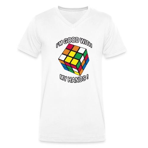Rubik's Cube Quotes I'm Good With My Hands - Ekologisk T-shirt med V-ringning herr från Stanley & Stella