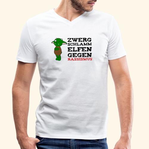 Zwergschlammelfen gegen Rassismus - Männer Bio-T-Shirt mit V-Ausschnitt von Stanley & Stella