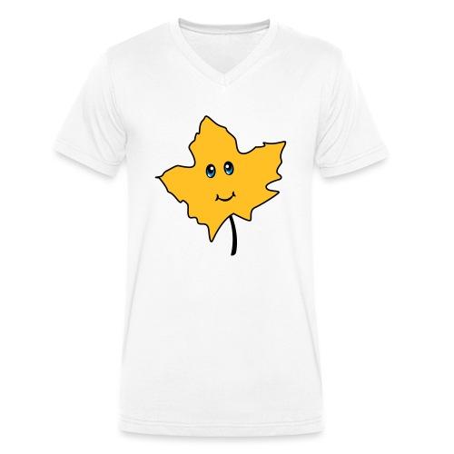 Herbst Blatt Comic Niedlich - Männer Bio-T-Shirt mit V-Ausschnitt von Stanley & Stella