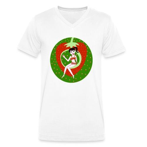 Strawberry Girl - Männer Bio-T-Shirt mit V-Ausschnitt von Stanley & Stella