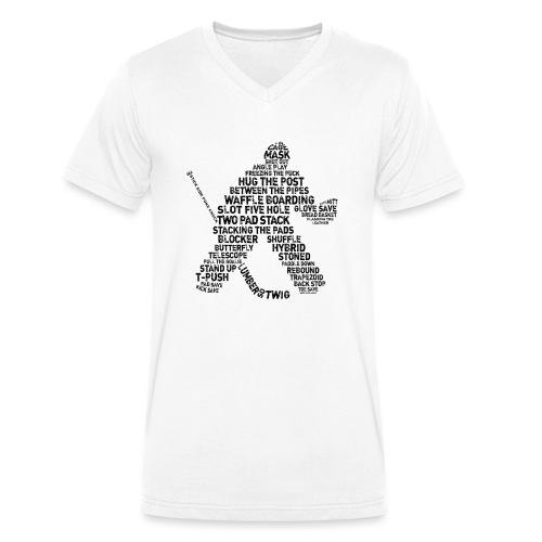 Goalie Lingo - Grunge Text Version (black print) - Men's Organic V-Neck T-Shirt by Stanley & Stella