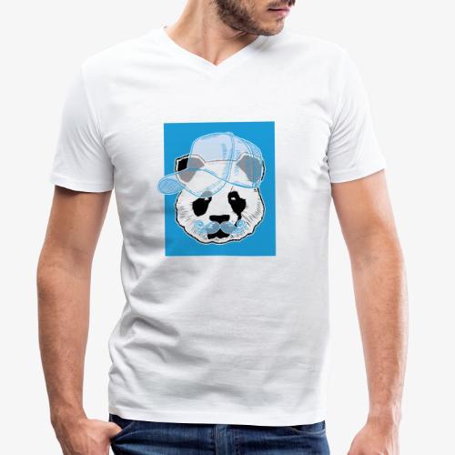 Panda - Cap - Mustache - Männer Bio-T-Shirt mit V-Ausschnitt von Stanley & Stella