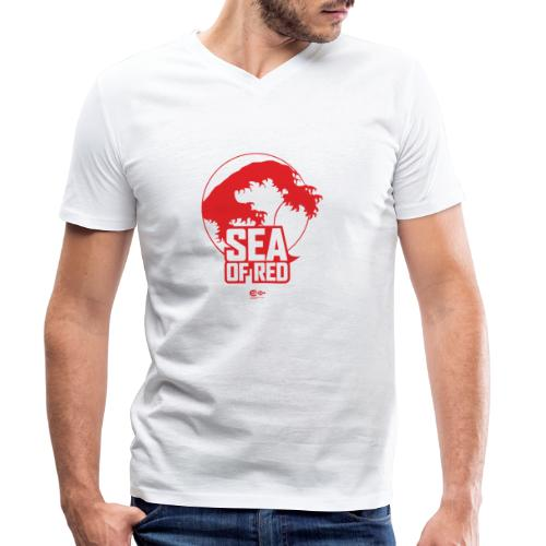 Sea of red logo - red - Men's Organic V-Neck T-Shirt by Stanley & Stella