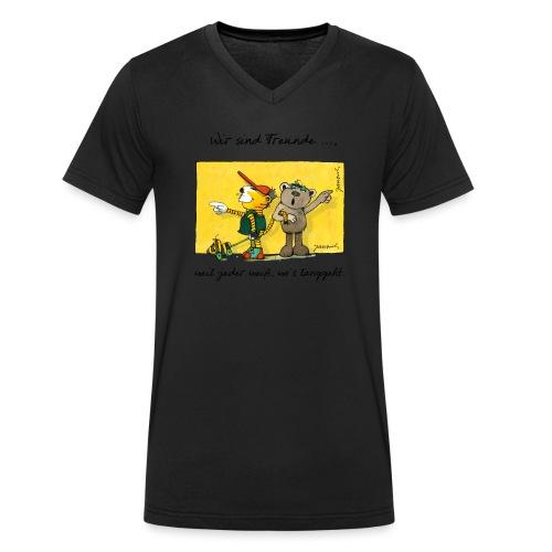 Janoschs 'Wir sind Freunde, weil jeder weiß ...' - Männer Bio-T-Shirt mit V-Ausschnitt von Stanley & Stella