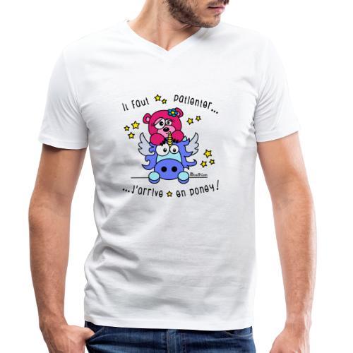 Licorne - Il faut patienter, J'arrive en Poney! - T-shirt bio col V Stanley & Stella Homme