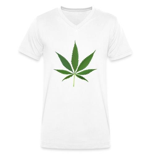2000px-Cannabis_leaf_2 - Økologisk Stanley & Stella T-shirt med V-udskæring til herrer