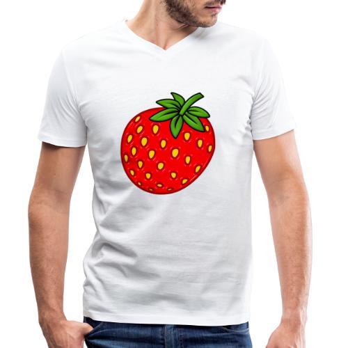 Erdbeere - Männer Bio-T-Shirt mit V-Ausschnitt von Stanley & Stella