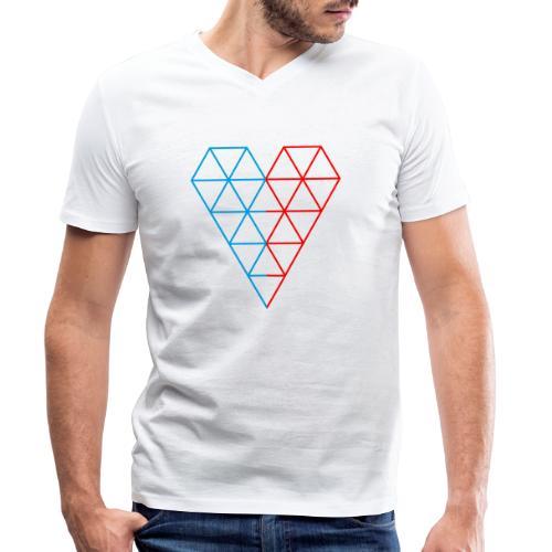 The Heart of Life x 1, Dual Polygon. - Men's Organic V-Neck T-Shirt by Stanley & Stella