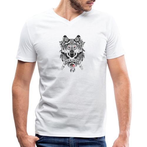 WOLF-PEDAELA - Camiseta ecológica hombre con cuello de pico de Stanley & Stella