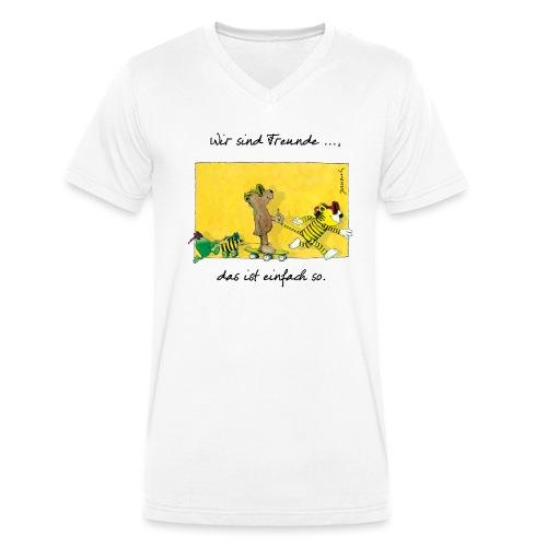 Janoschs 'Wir sind Freunde, das ist einfach so.' - Männer Bio-T-Shirt mit V-Ausschnitt von Stanley & Stella