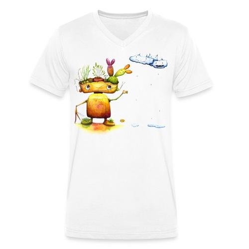 Robot with his plant friends - Mannen bio T-shirt met V-hals van Stanley & Stella