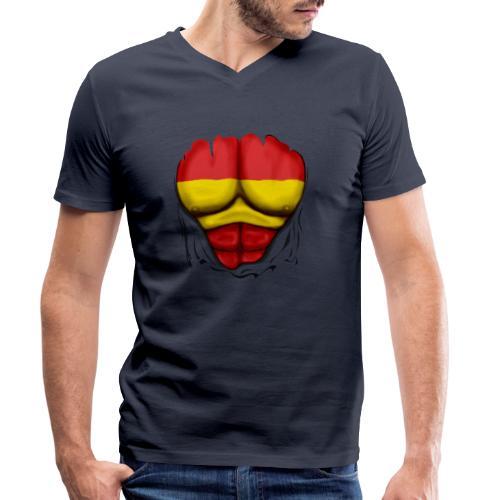 España Flag Ripped Muscles six pack chest t-shirt - Men's Organic V-Neck T-Shirt by Stanley & Stella