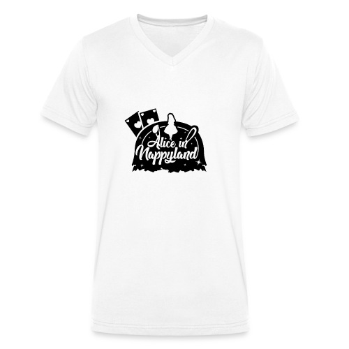 Alice in Nappyland TypographyWhite with background - Men's Organic V-Neck T-Shirt by Stanley & Stella