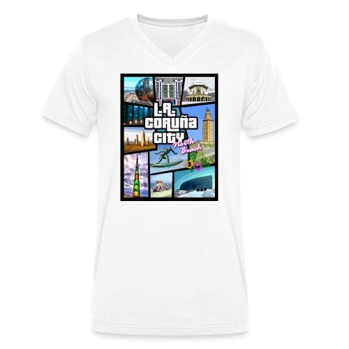 CORUÑA CITY NORTH BEACH - Camiseta ecológica hombre con cuello de pico de Stanley & Stella