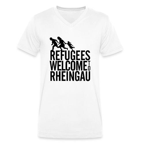 Refugees Welcome to Rheingau Pullover Front&Back - Männer Bio-T-Shirt mit V-Ausschnitt von Stanley & Stella