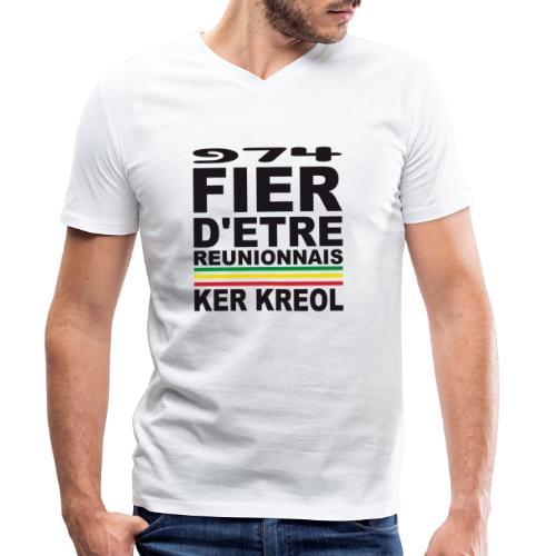 974 Fier d'être Réunionnais - 974 Ker Kreol v1.2 - T-shirt bio col V Stanley & Stella Homme