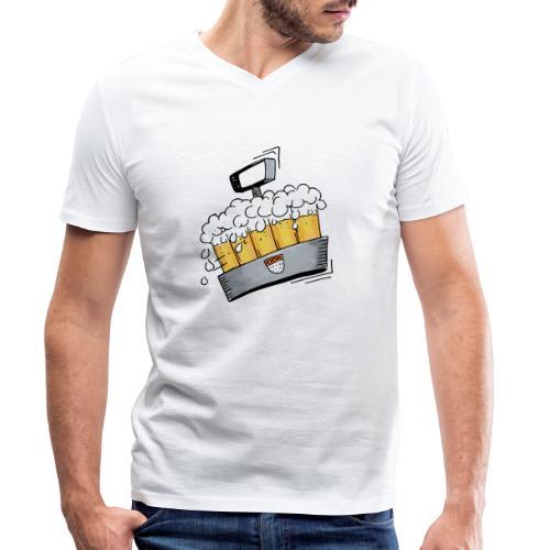 Kölsche Sticker - Kranz.png - Männer Bio-T-Shirt mit V-Ausschnitt von Stanley & Stella
