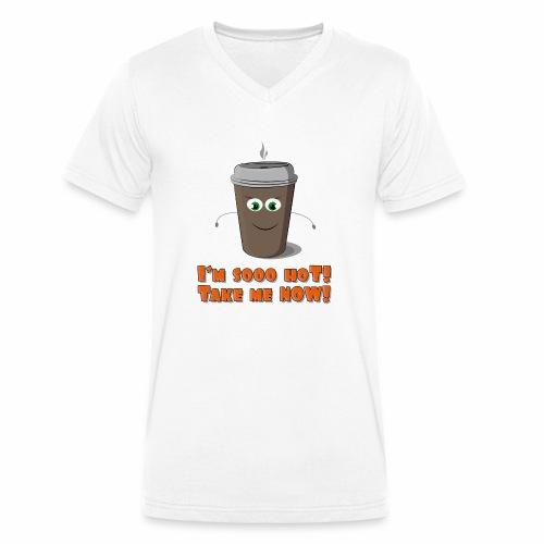 Coffee to go - Ekologiczna koszulka męska z dekoltem w serek Stanley & Stella
