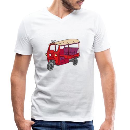 Rote Autorikscha, Tuk-tuk - Männer Bio-T-Shirt mit V-Ausschnitt von Stanley & Stella