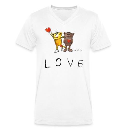 Janosch LOVE Schiftzug Tiger und Bär - Männer Bio-T-Shirt mit V-Ausschnitt von Stanley & Stella