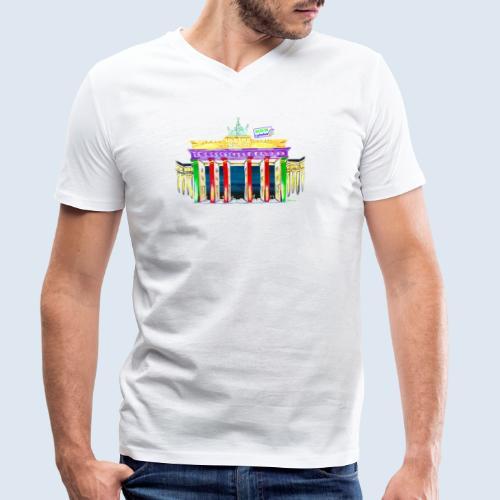 """Berlin """"Brandenburger Tor"""" PopArt Design - Männer Bio-T-Shirt mit V-Ausschnitt von Stanley & Stella"""