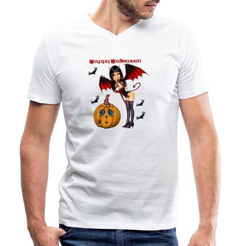 Happy Halloween Kürbis mit Fledermausgirl - Männer Bio-T-Shirt mit V-Ausschnitt von Stanley & Stella