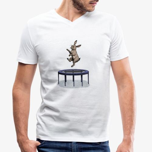 Rabbit Trampoline - Men's Organic V-Neck T-Shirt by Stanley & Stella