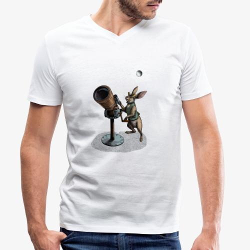 Stargazing Hare - Men's Organic V-Neck T-Shirt by Stanley & Stella