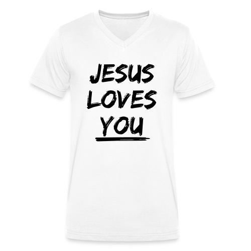 jesus-loves-you - Männer Bio-T-Shirt mit V-Ausschnitt von Stanley & Stella