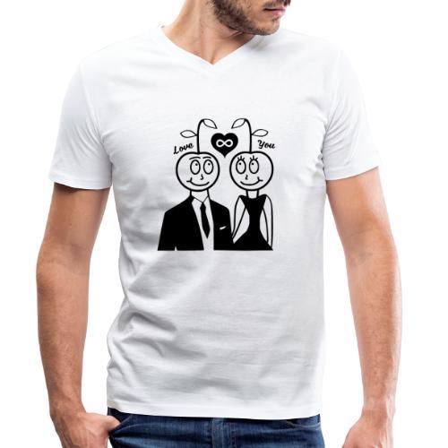Happy Kirsche Schwarz - Männer Bio-T-Shirt mit V-Ausschnitt von Stanley & Stella