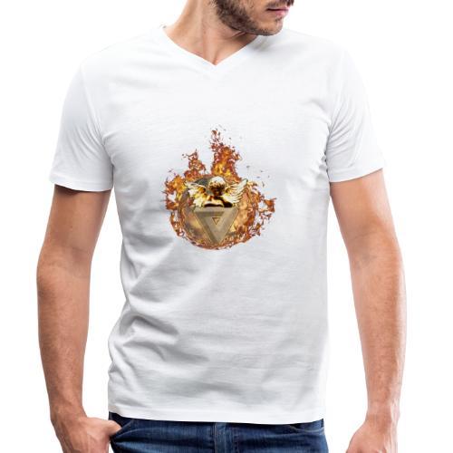 Planet + Feuerring, Feuerengel auf opt. Täuschung - Männer Bio-T-Shirt mit V-Ausschnitt von Stanley & Stella