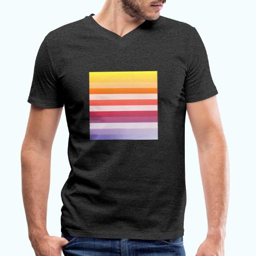 Rainbow Abstract Acrylic Painting - Men's Organic V-Neck T-Shirt by Stanley & Stella