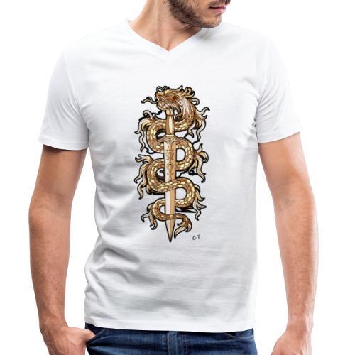 spada infuocata - T-shirt ecologica da uomo con scollo a V di Stanley & Stella