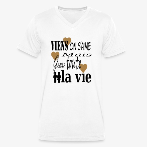 Viens on s'aime2 - T-shirt bio col V Stanley & Stella Homme