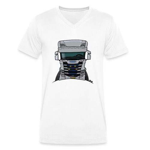 0814 S truck grill wit - Mannen bio T-shirt met V-hals van Stanley & Stella