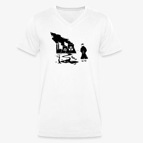 Pissing Man against environmental pollution - Männer Bio-T-Shirt mit V-Ausschnitt von Stanley & Stella