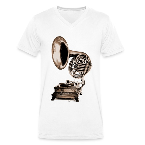 Grammo-Horn - Männer Bio-T-Shirt mit V-Ausschnitt von Stanley & Stella