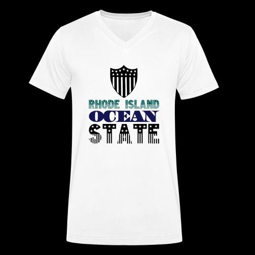 rhode island ocean state - Men's Organic V-Neck T-Shirt by Stanley & Stella