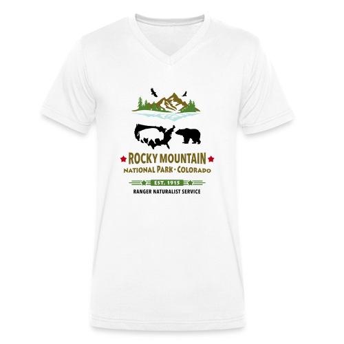 Rocky Mountain Nationalpark Berg Bison Grizzly Bär - Men's Organic V-Neck T-Shirt by Stanley & Stella