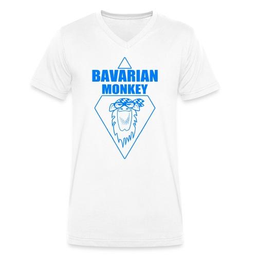 Bavarian Monkey Label blau - Männer Bio-T-Shirt mit V-Ausschnitt von Stanley & Stella