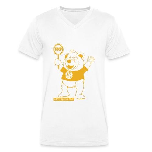 FUPO der Bär. Druckfarbe Orange - Männer Bio-T-Shirt mit V-Ausschnitt von Stanley & Stella