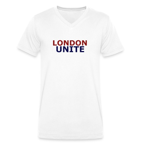 London Unite White T-Shirt - Men's Organic V-Neck T-Shirt by Stanley & Stella