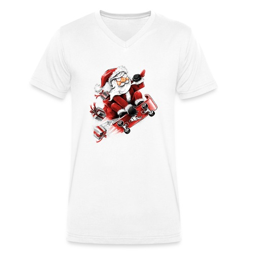 Santa Skateboarding - Men's Organic V-Neck T-Shirt by Stanley & Stella