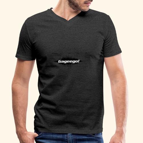 Gageego logga vit text - Ekologisk T-shirt med V-ringning herr från Stanley & Stella