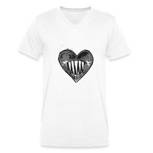 Corazón Negro - Camiseta ecológica hombre con cuello de pico de Stanley & Stella