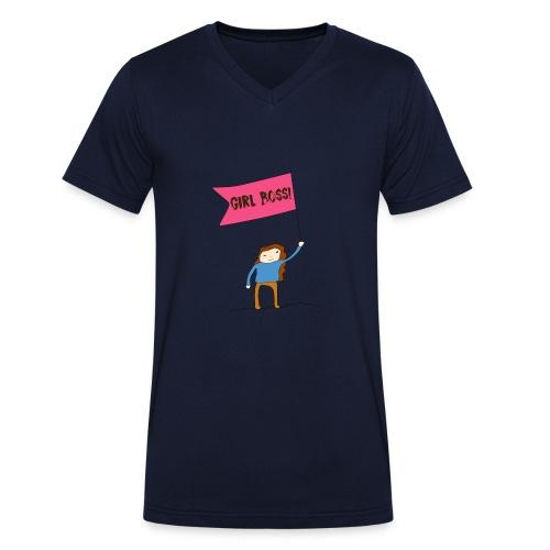Gurl boss - Camiseta ecológica hombre con cuello de pico de Stanley & Stella
