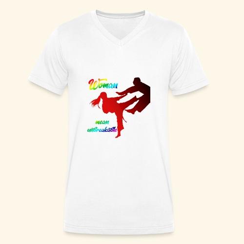 woman mean unbreakable - T-shirt ecologica da uomo con scollo a V di Stanley & Stella